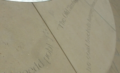 Katherine's carved letters - public art/bench