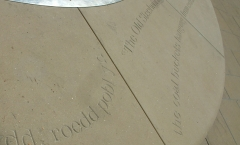 English and Welsh letters carved on the 6 metre stone base