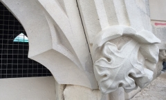 Detail in tracery stone sits well next to carved corbel