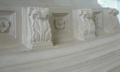 Carved cornice stones inside Mausoleum